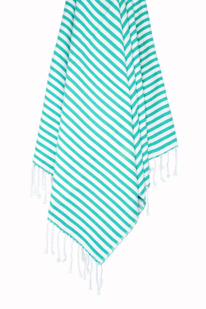 Buldano Turkish Towel Turquoise Stripe