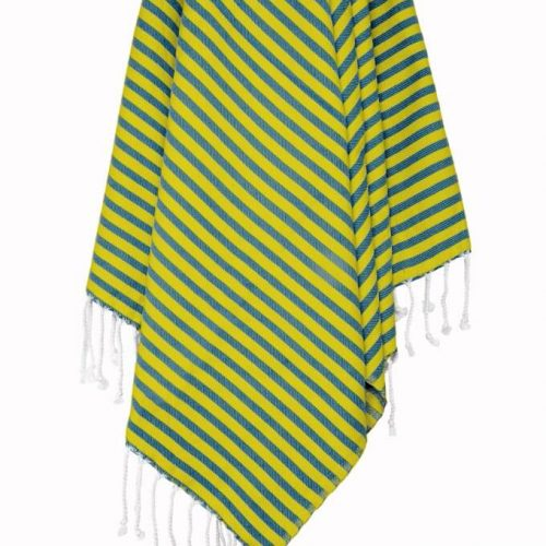Buldano Turkish Towel Nautical Navy Yellow Stripe