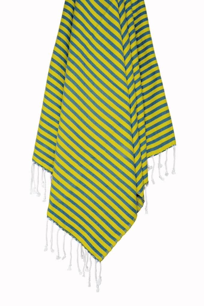 Buldano Turkish Towel Nautical Navy Yellow Stripe