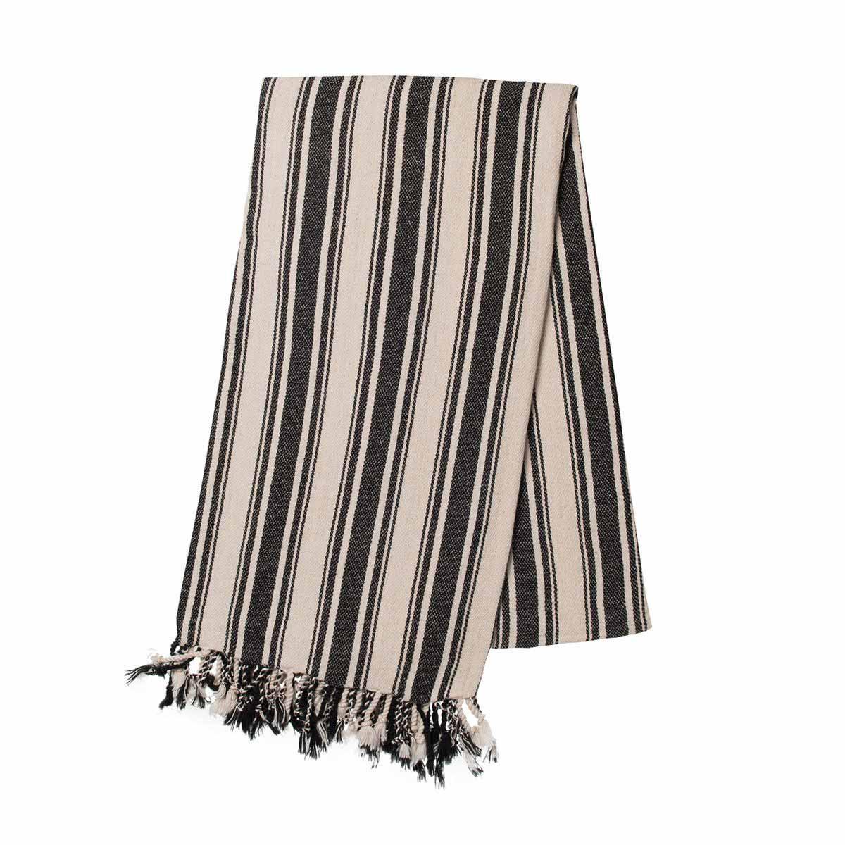 Buldano Turkish Towel - Verti Stripes Black