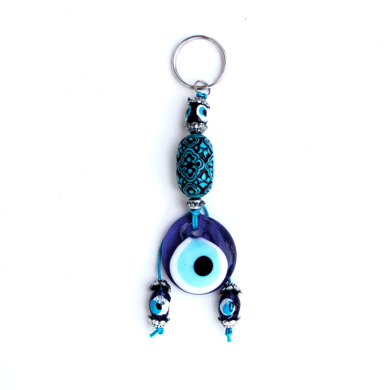 Turkish Blue Bead / Evil Eye Keyring - Flowers