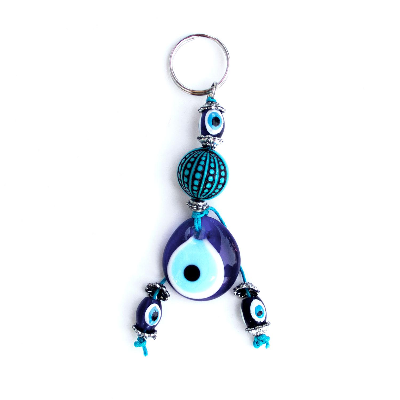 Turkish Blue Bead / Evil Eye Keyring - Globe