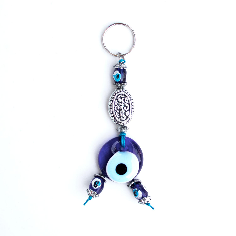 Turkish Blue Bead / Evil Eye Keychain - Silver