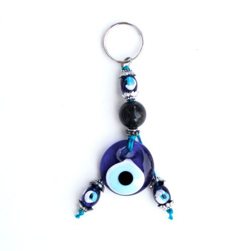 Turkish Blue Bead / Evil Eye Keychain - Black