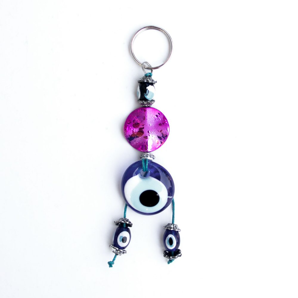Turkish Blue Bead / Evil Eye Keychain - Pink Wave